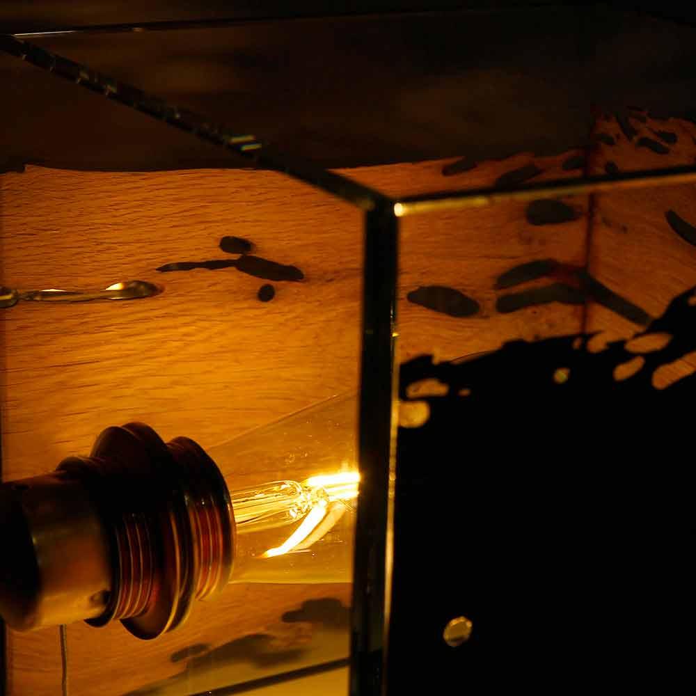 Lampada da tavolo in legno di briccola di Venezia e vetro Cà d'oro 22