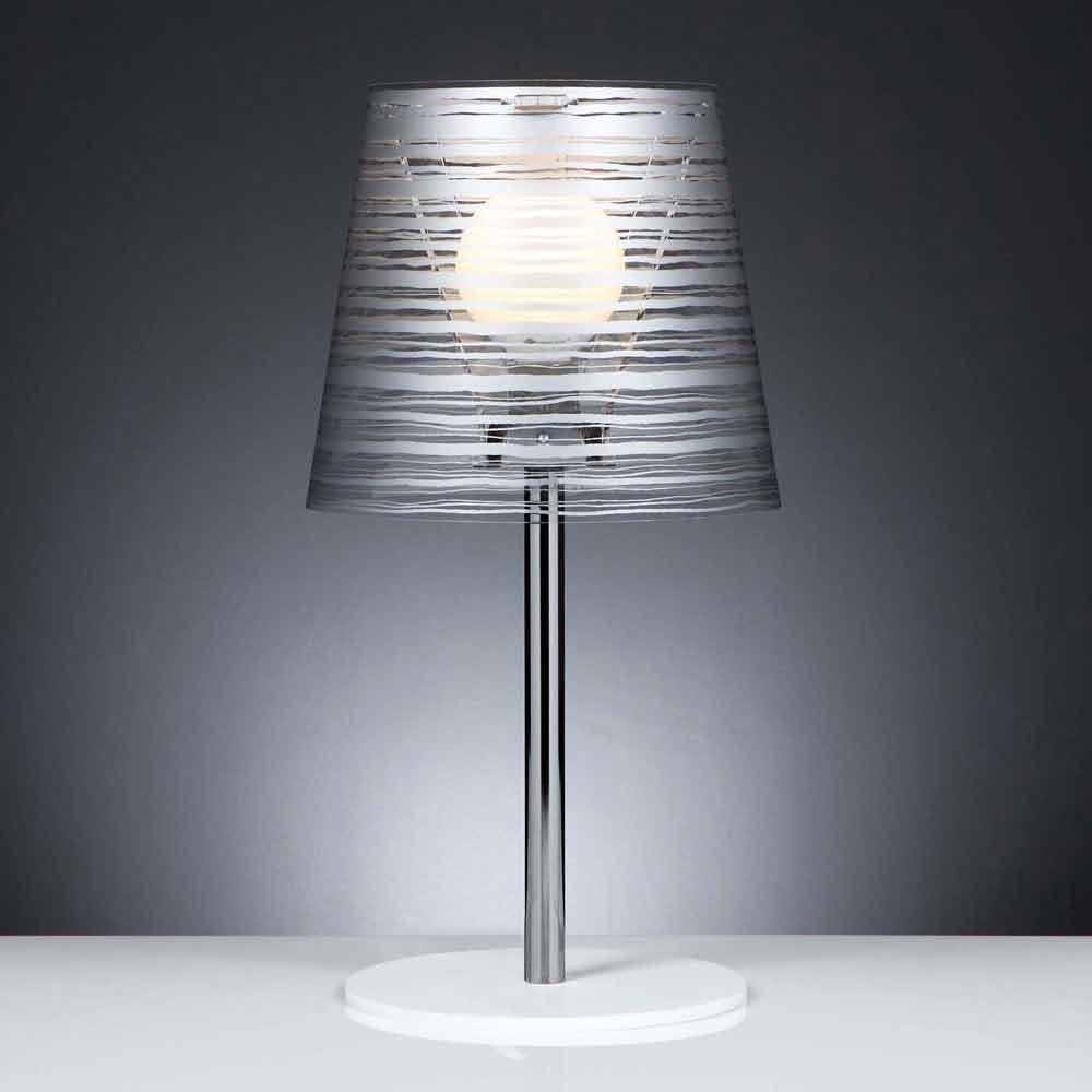 Lampada da tavolo moderna con decoro argento diametro 30 for Lampada moderna da tavolo