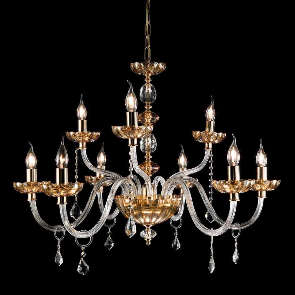 Lampadario classico di design a 9 luci in vetro e for Lampadario classico