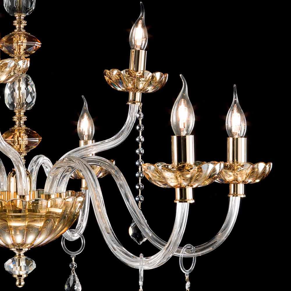 Lampadari Di Cristallo Classici.Lampadario Classico Di Design A 9 Luci In Vetro E Cristallo Belle