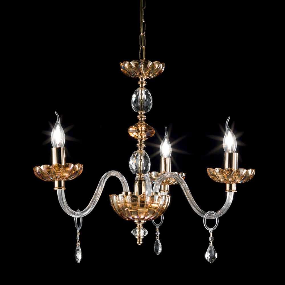 Lampadario classico in cristallo e vetro a 3 luci Belle ...