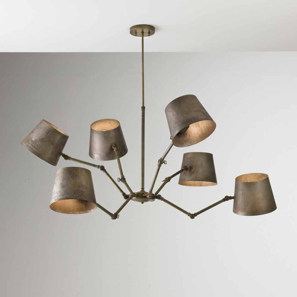 lampadario stile industriale : Lampadario stile industriale in ferro e ottone Reporter Il Fanale