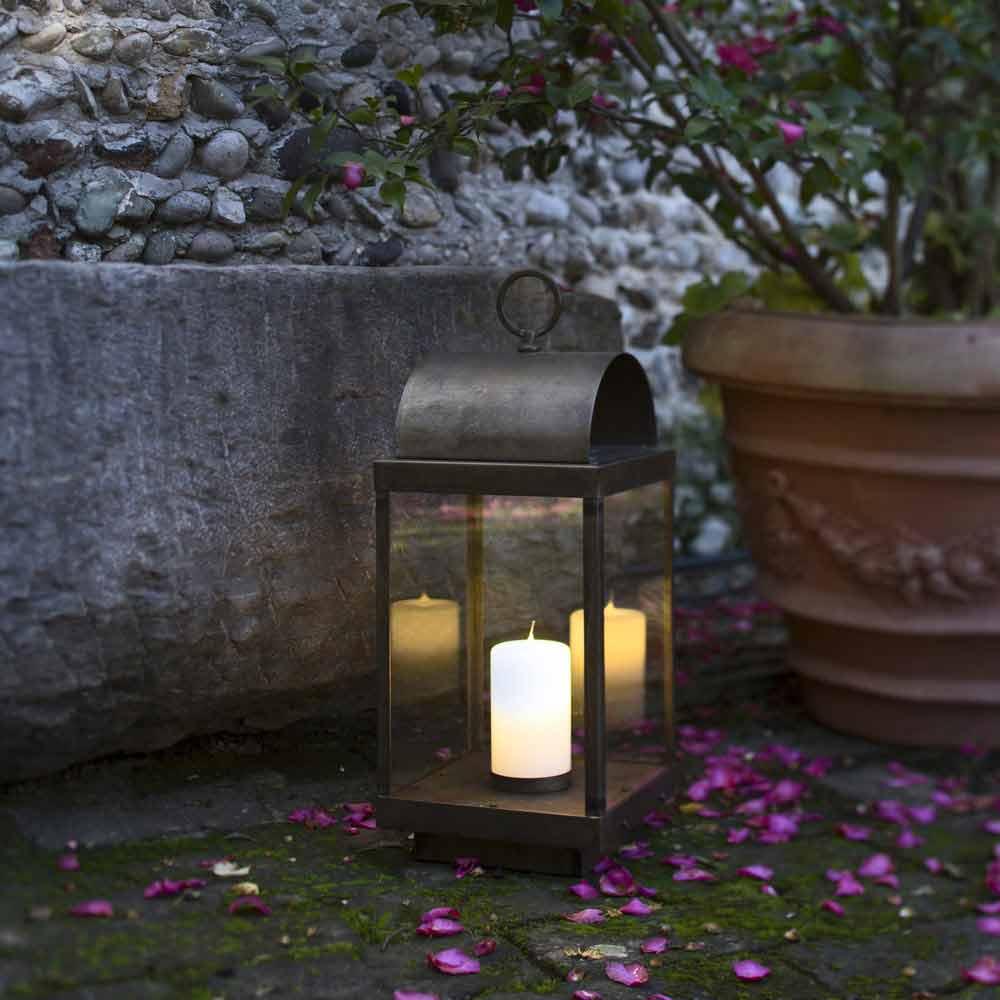 Lanterna da giardino con candela in ferro o ottone il fanale - Lanterne per esterni da giardino ...
