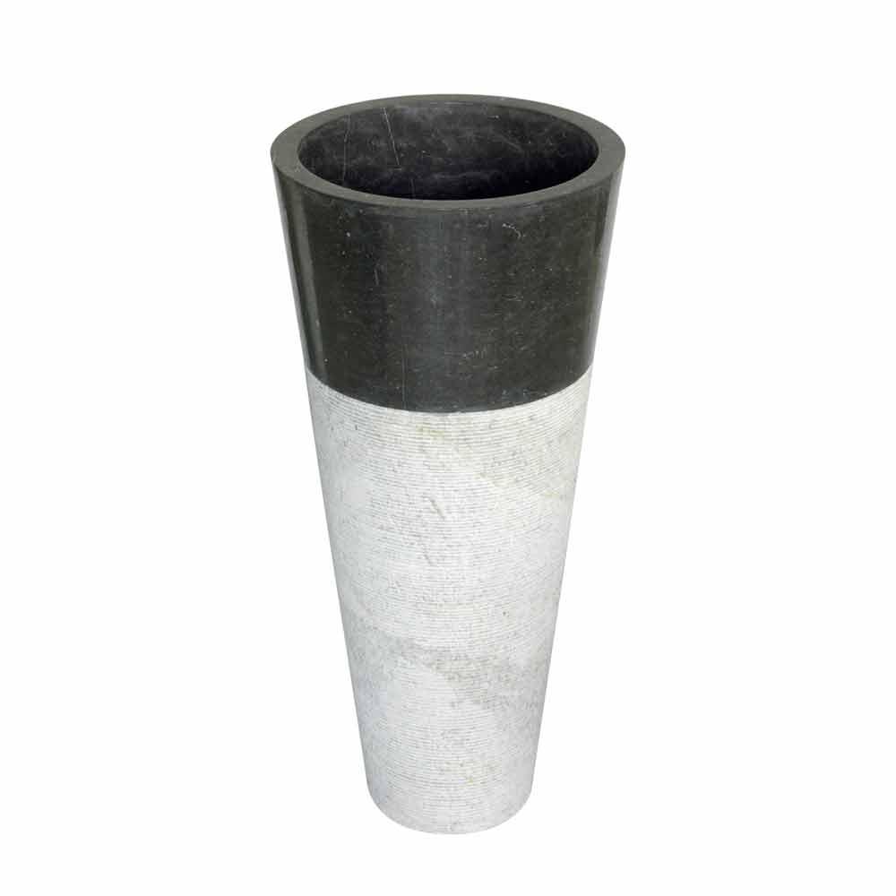 Lavabo a colonna conico in pietra naturale nera per bagno raja for Lavabo a colonna