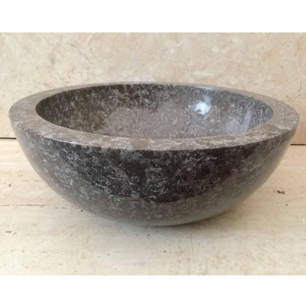 Lavabo da appoggio grigio in pietra naturale levi pezzo unico - Lavabo bagno in pietra ...