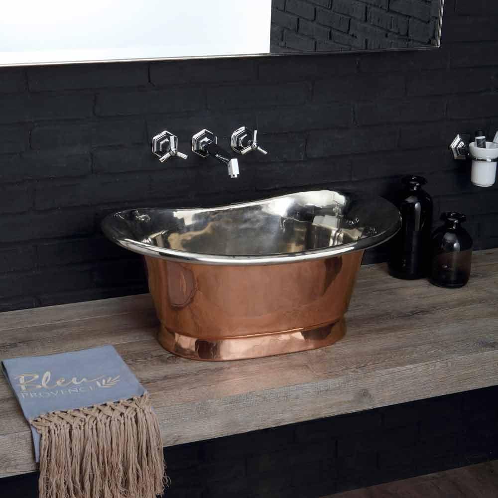 Lavabo bagno da appoggio in rame con finitura in nickel lucido calla - Lavabo bagno appoggio ...