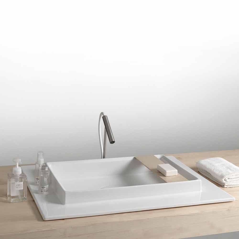 Lavabo bagno rettangolare in ceramica dal design moderno fred - Ceramica bagno moderno ...