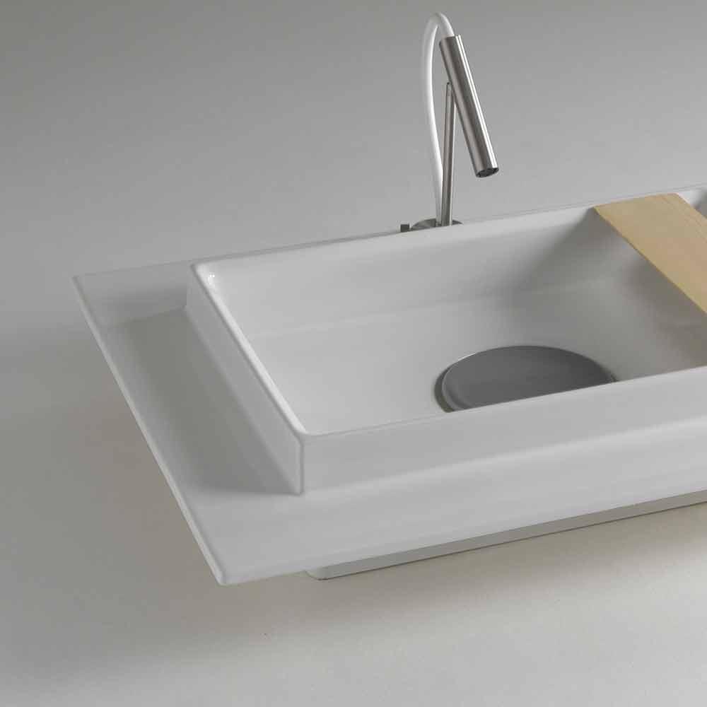 Lavabo bagno rettangolare in ceramica dal design moderno Fred