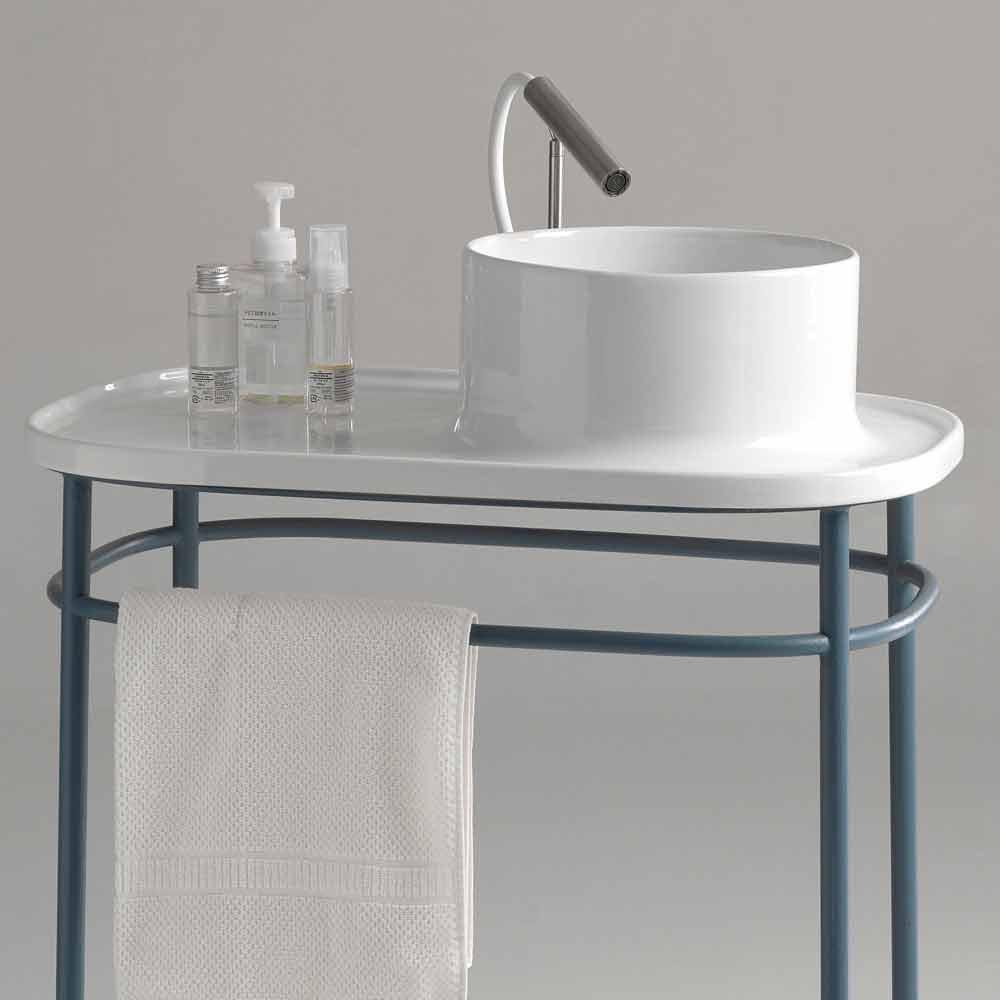 Lavabo da appoggio in ceramica completo di base metallica for Lavabo da appoggio misure