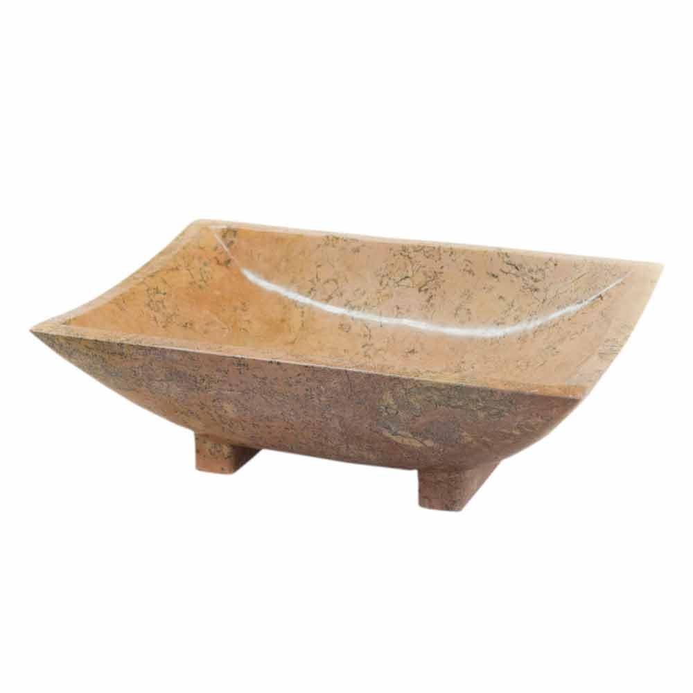 Lavabo da appoggio di design in pietra naturale iria - Lavabo bagno 50 cm ...