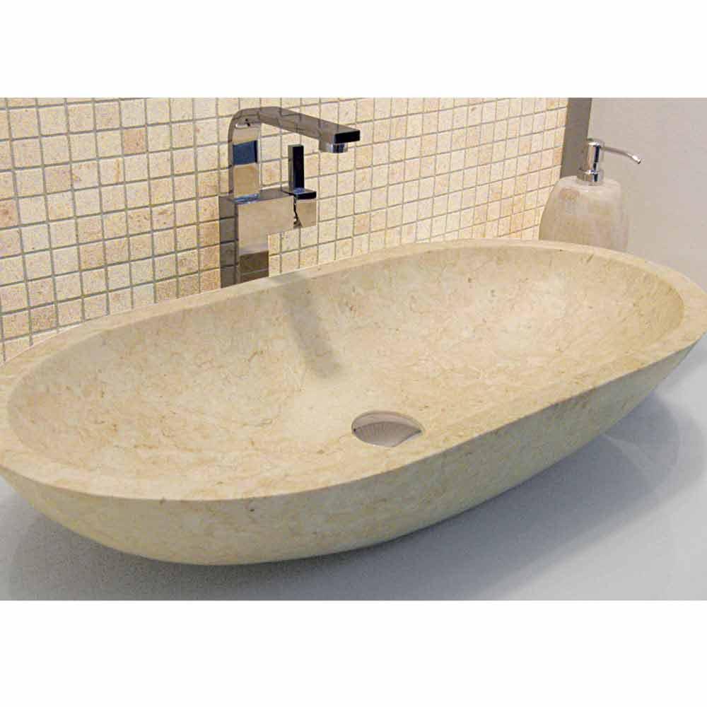 Lavabo da appoggio ovale in pietra naturale beige riau - Lavabo pietra bagno ...