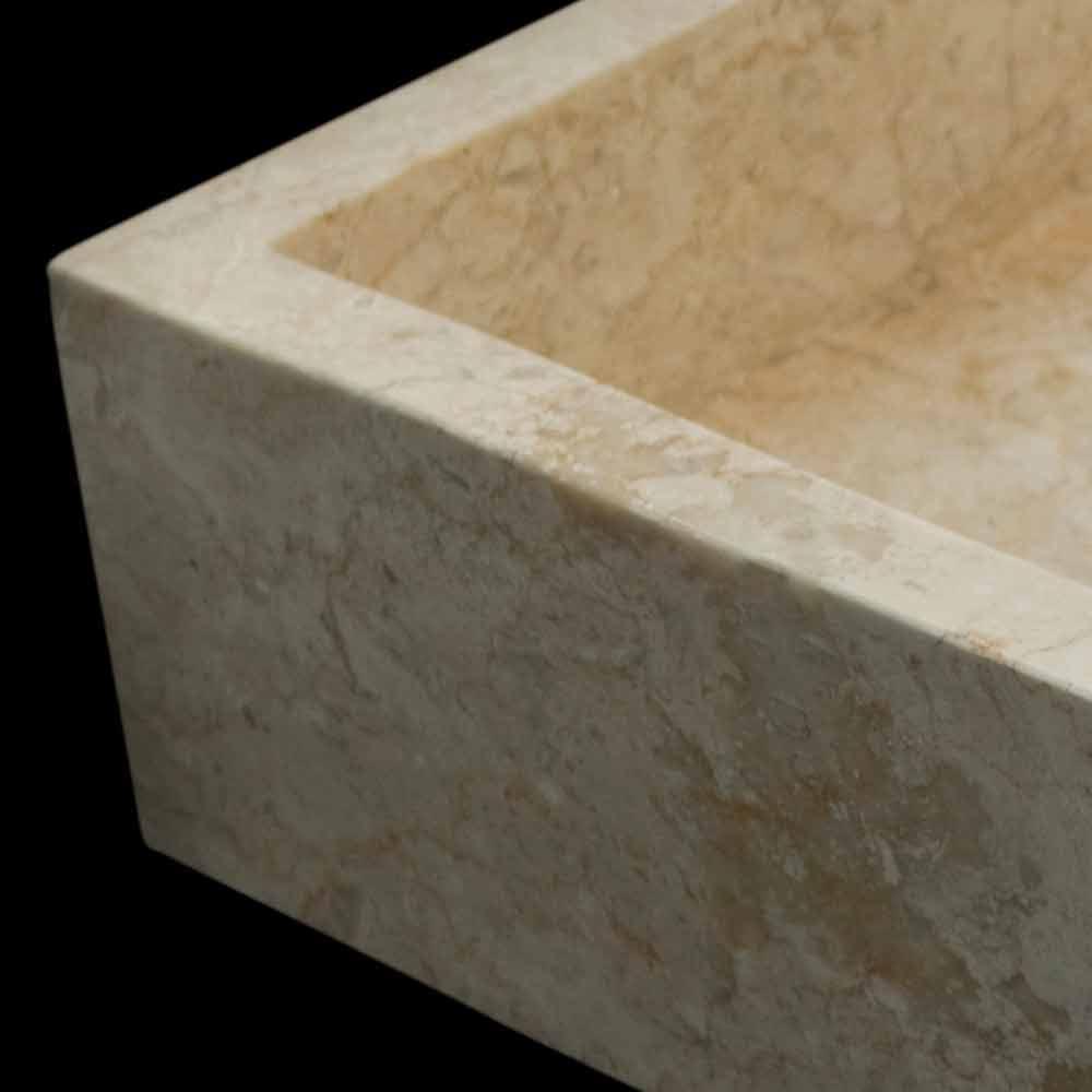 Lavabo bagno da appoggio in pietra naturale bianca jef fatto a mano - Bagno in pietra naturale ...