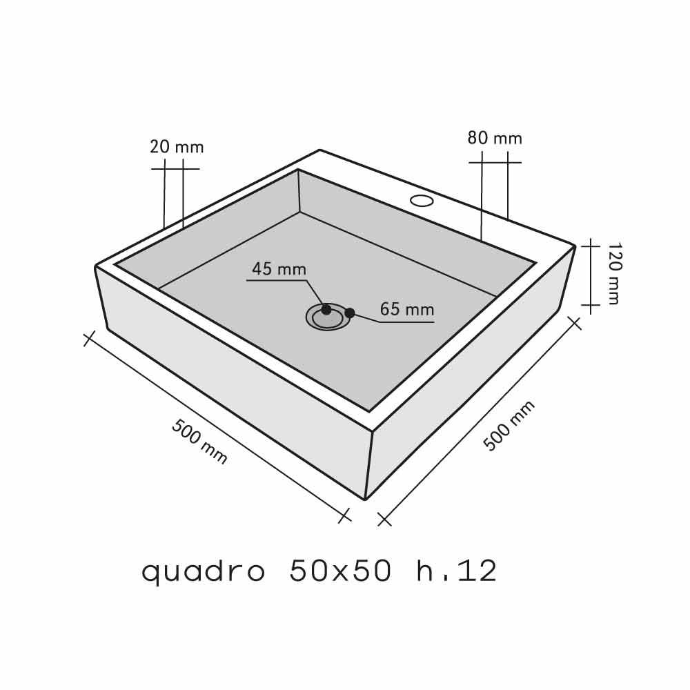 Lavandino Quadrato Da Appoggio In Basalto Modello Ban