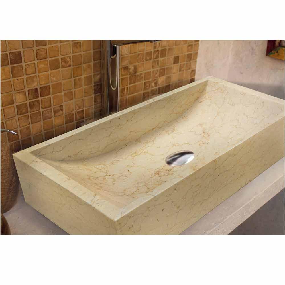 Lavabo da appoggio rettangolare in pietra naturale beige giacarta - Lavabo bagno in pietra ...