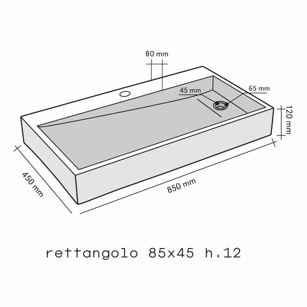 Lavabo rettangolare da appoggio in onice modello chao for Lavabo da appoggio misure