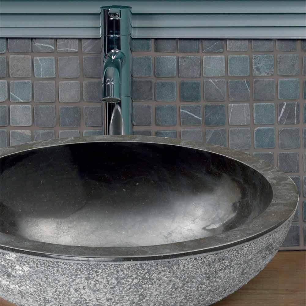 Lavabo da appoggio tondo in pietra naturale nera pai - Lavabi bagno in pietra ...