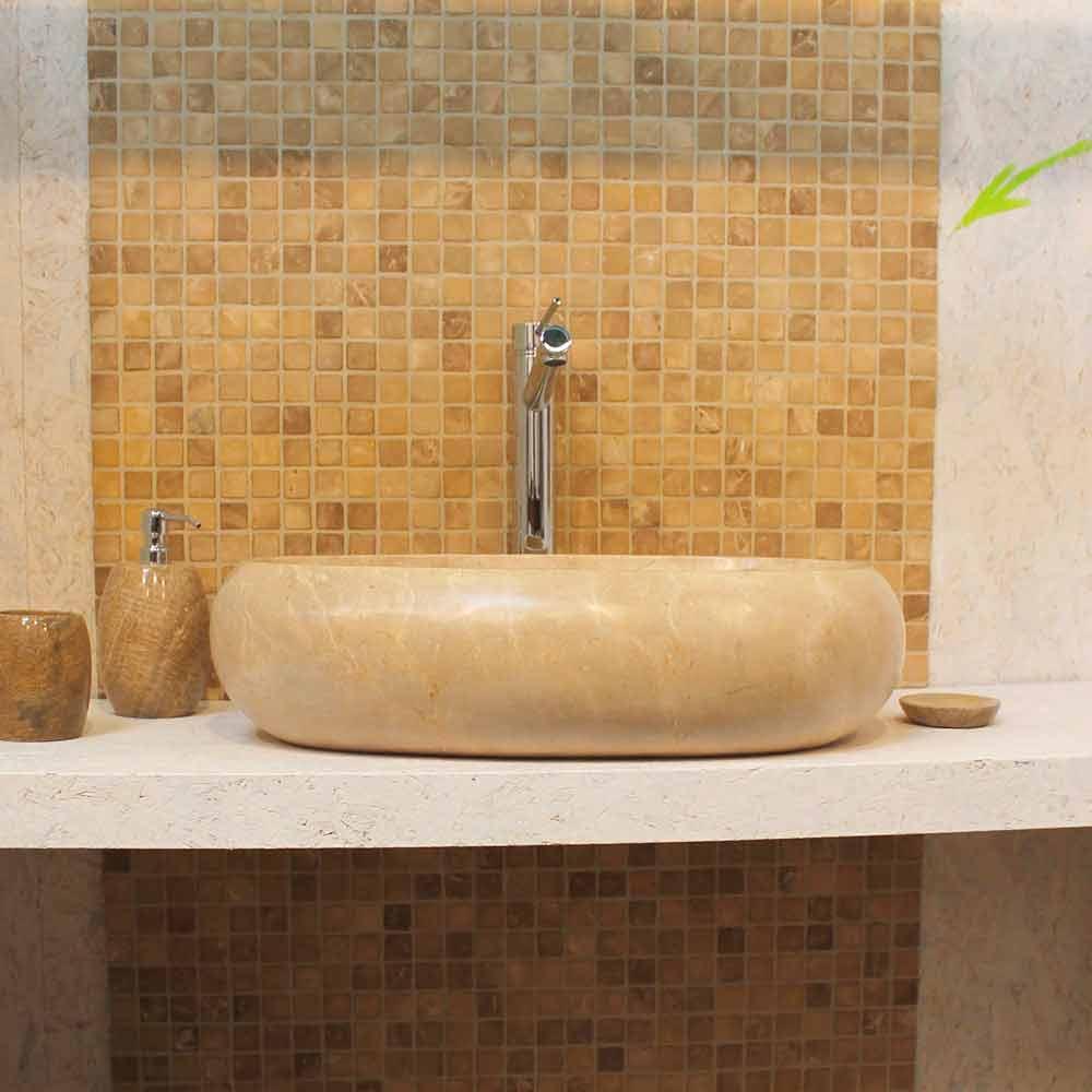 Lavabo da appoggio in marmo ovale color crema waka - Lavabo de esquina ...