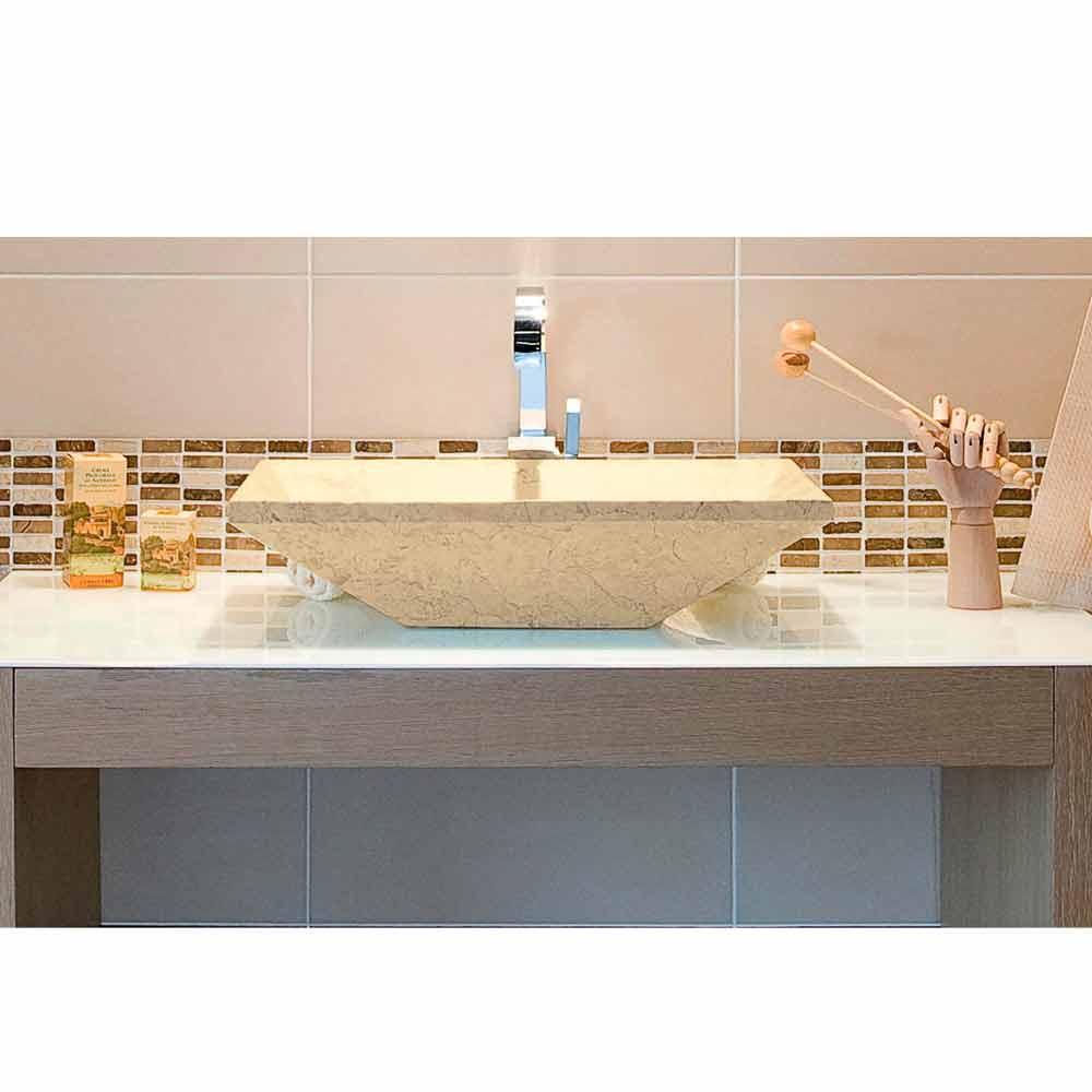 Lavabo da appoggio in marmo naturale beige per bagno wok for Consolle per lavabo da appoggio