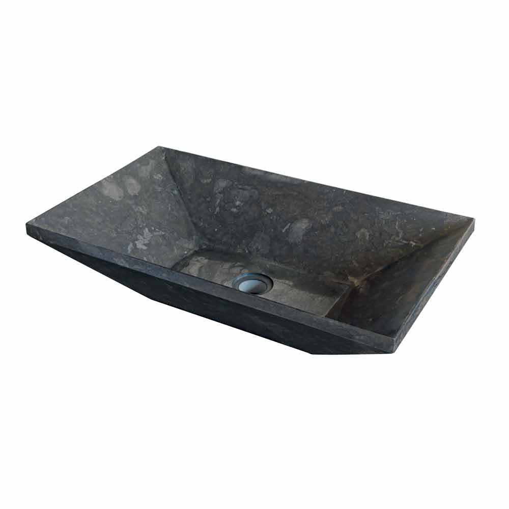 Lavabo da appoggio in pietra naturale nera per bagno wok - Lavabo bagno in pietra ...