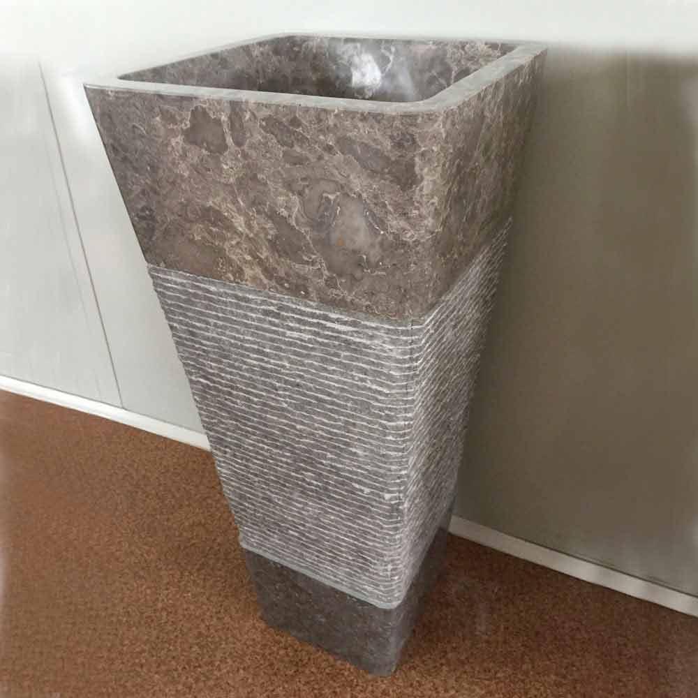 Lavabo A Colonna Design lavabo grigio a colonna di design in pietra naturale taffy,pezzo unico