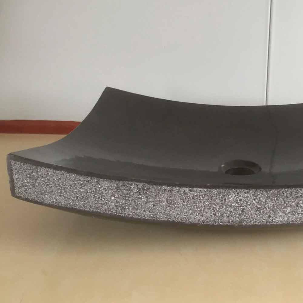 Lavabo bagno nero da appoggio love di design in pietra naturale - Lavabo in pietra per bagno ...