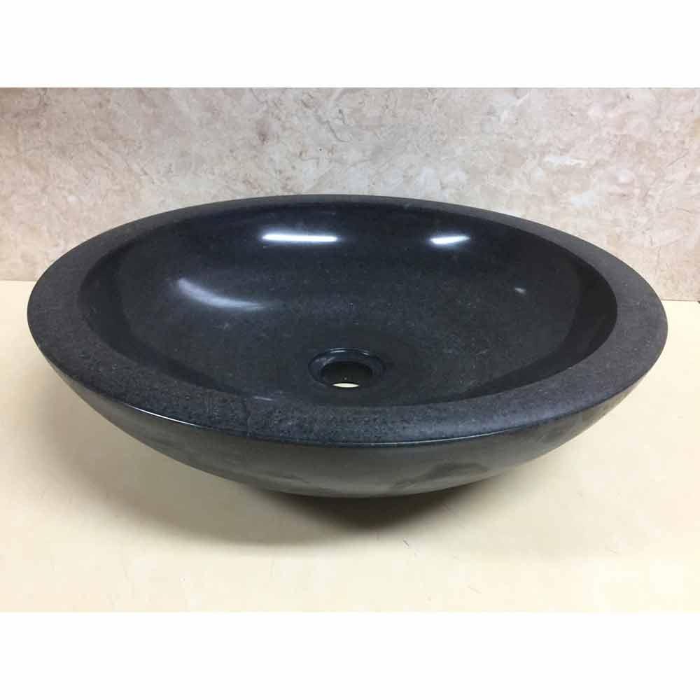 Lavabo nero da appoggio per bagno in pietra naturale Ziva, pezzo unico