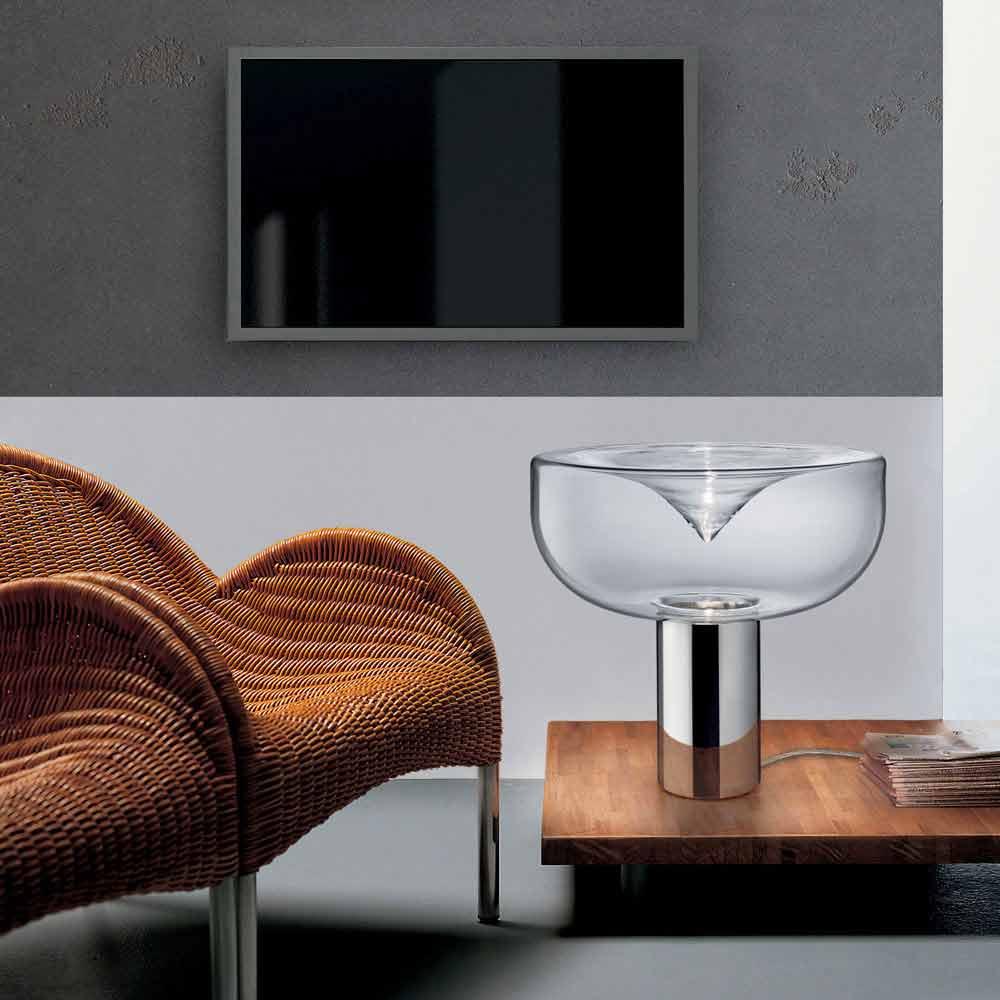 Leucos aella lampada da tavolo moderna in vetro cristallo - Lampada moderna da tavolo ...