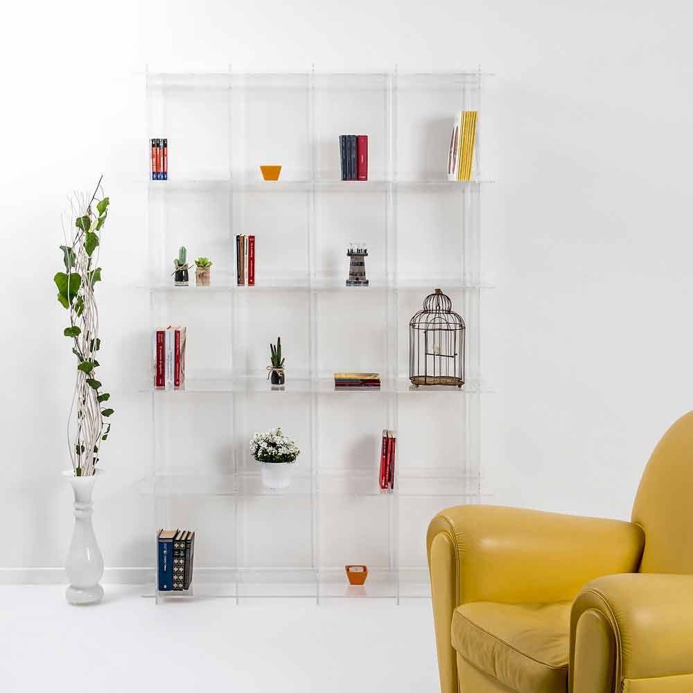 Libreria a muro design moderno in plexiglass trasparente for Design moderno