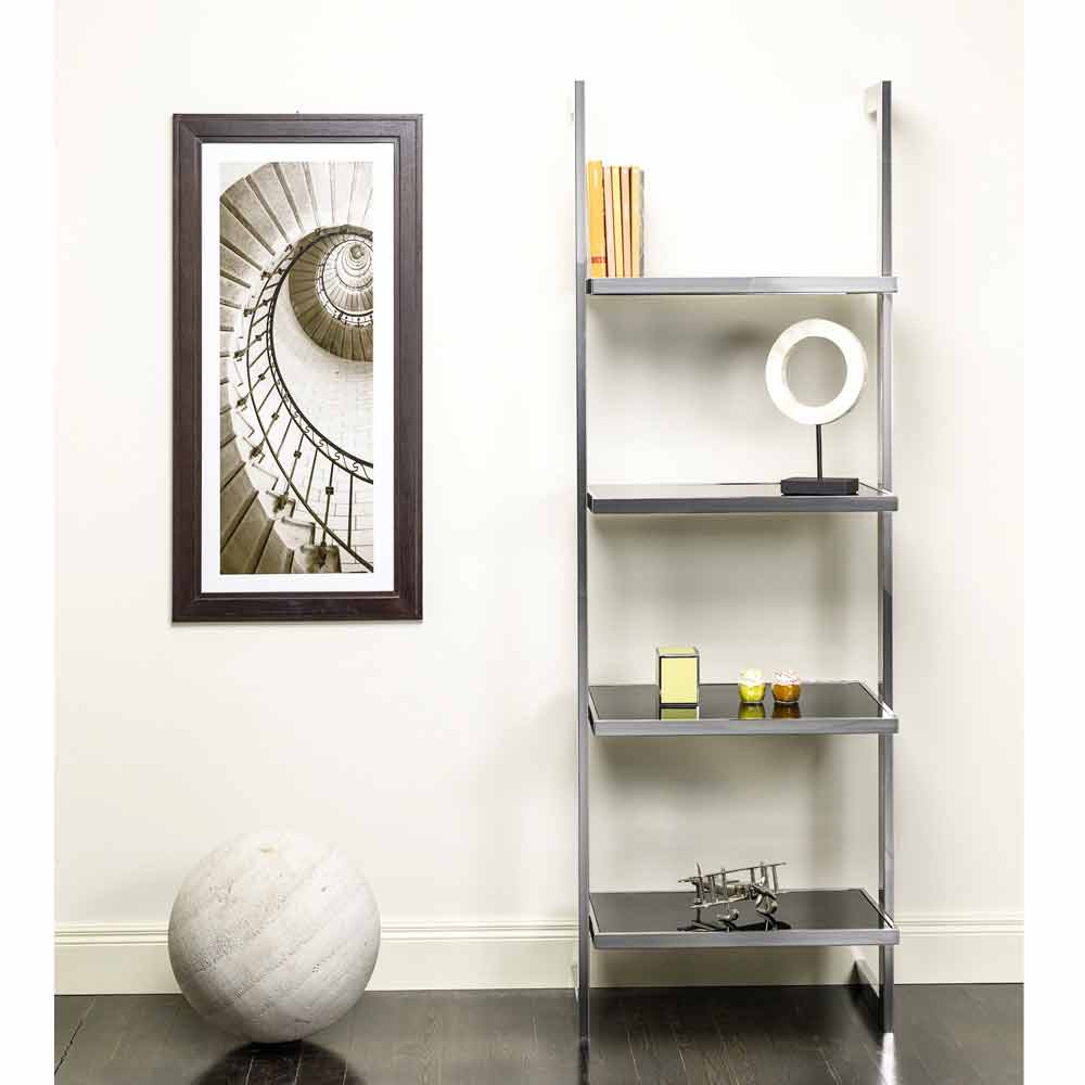 Libreria da parete in acciaio e vetro di design for Rivista di design e produzione di mobili