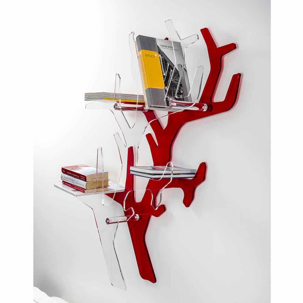 Libreria da parete rossa design moderno carol made in italy for Parete rossa soggiorno