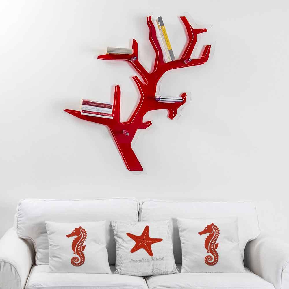 Conosciuto Libreria da parete rossa design moderno Carol, made in Italy UZ16