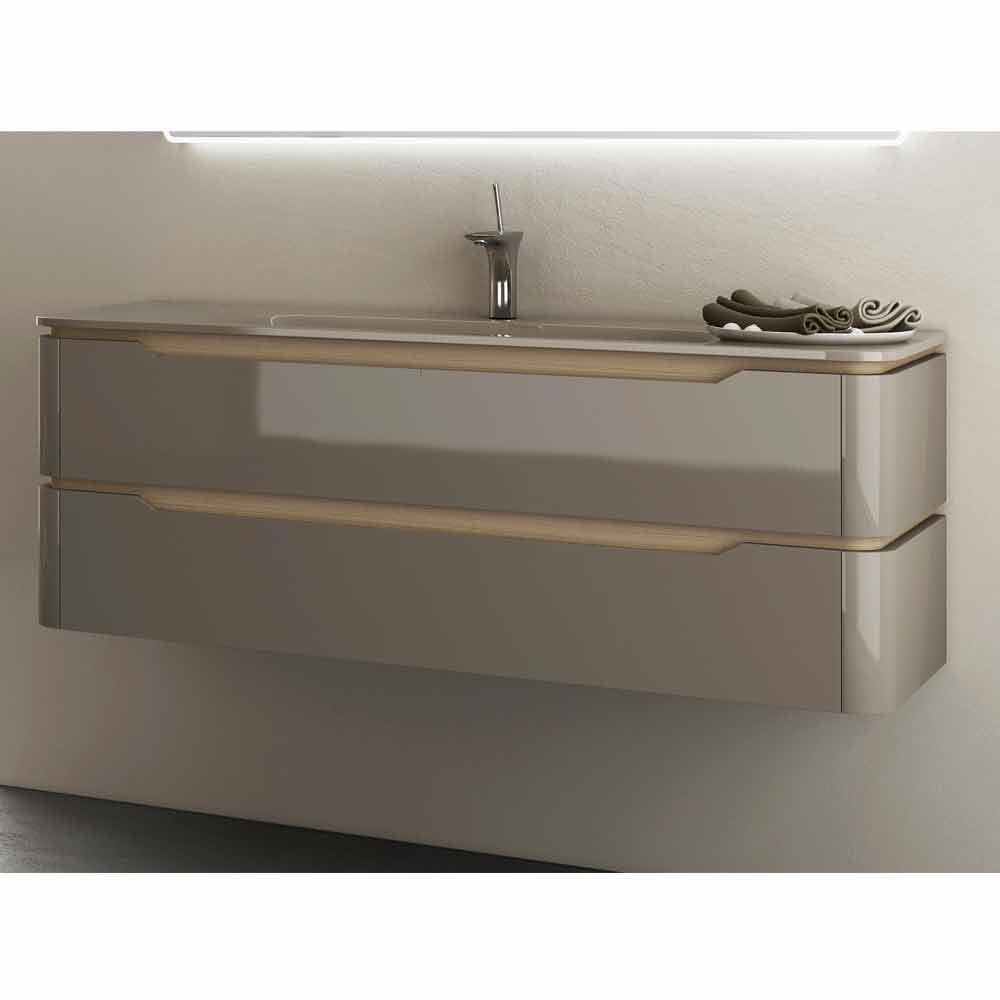 Mobile bagno con lavabo integrato design in legno Arya, made in Italy