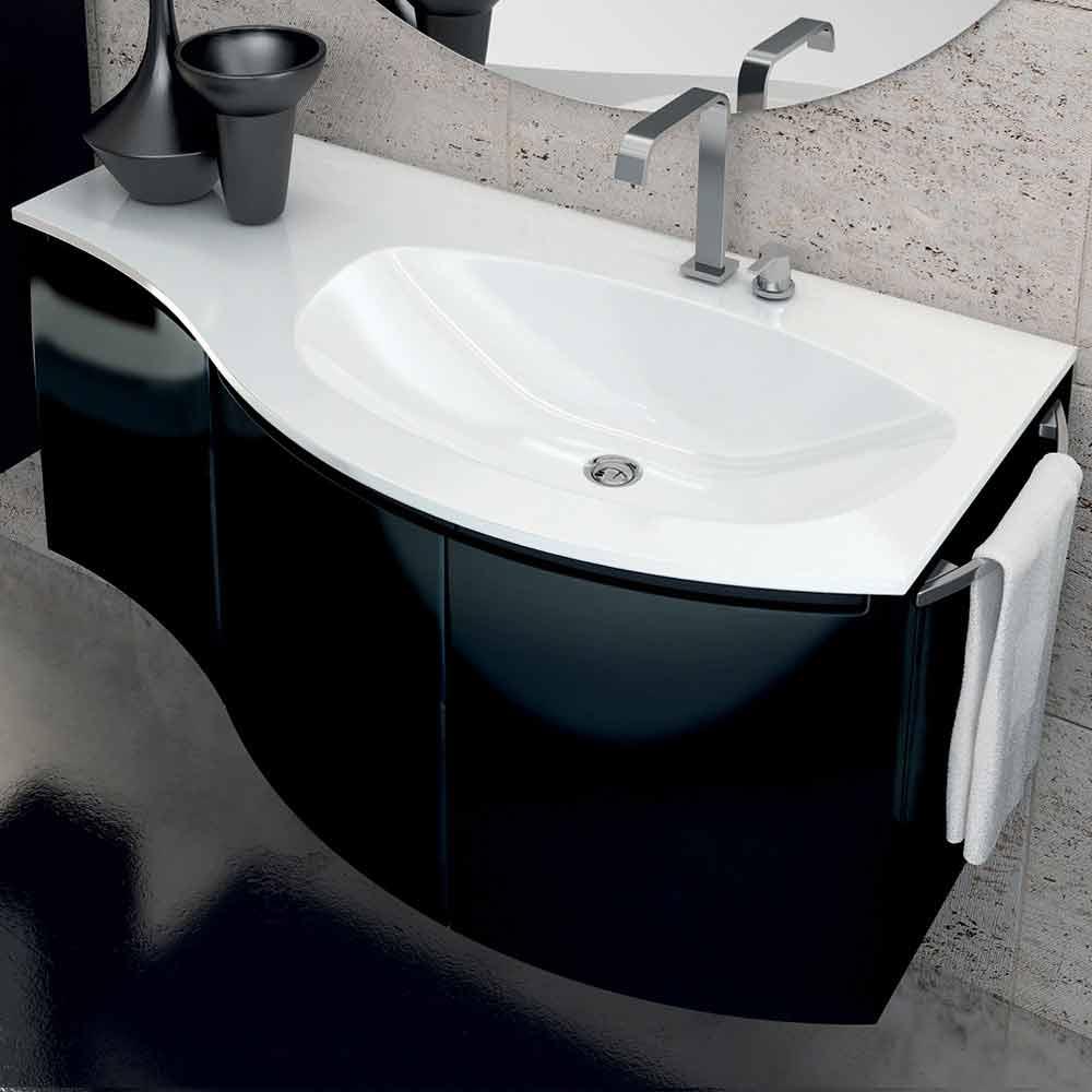 Mobile bagno moderno con lavabo a tre ante in legno - Bagno con sale grosso ...