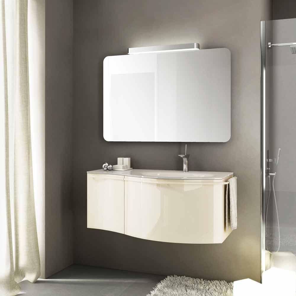 Mobile bagno sospeso moderno con lavabo in legno laccato beige gioia 1 - Lavabo bagno sospeso con mobile ...