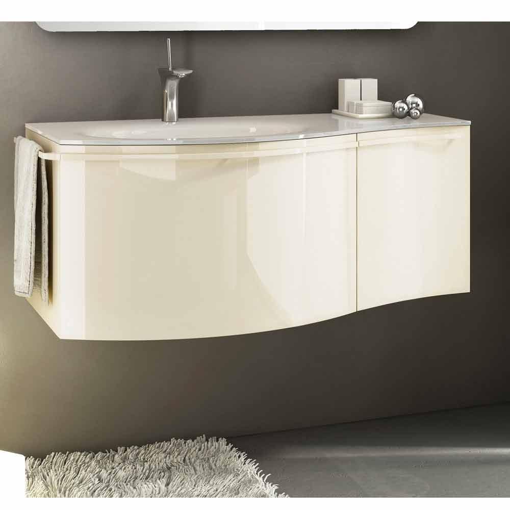Mobile bagno sospeso moderno con lavabo in legno laccato beige Gioia 1