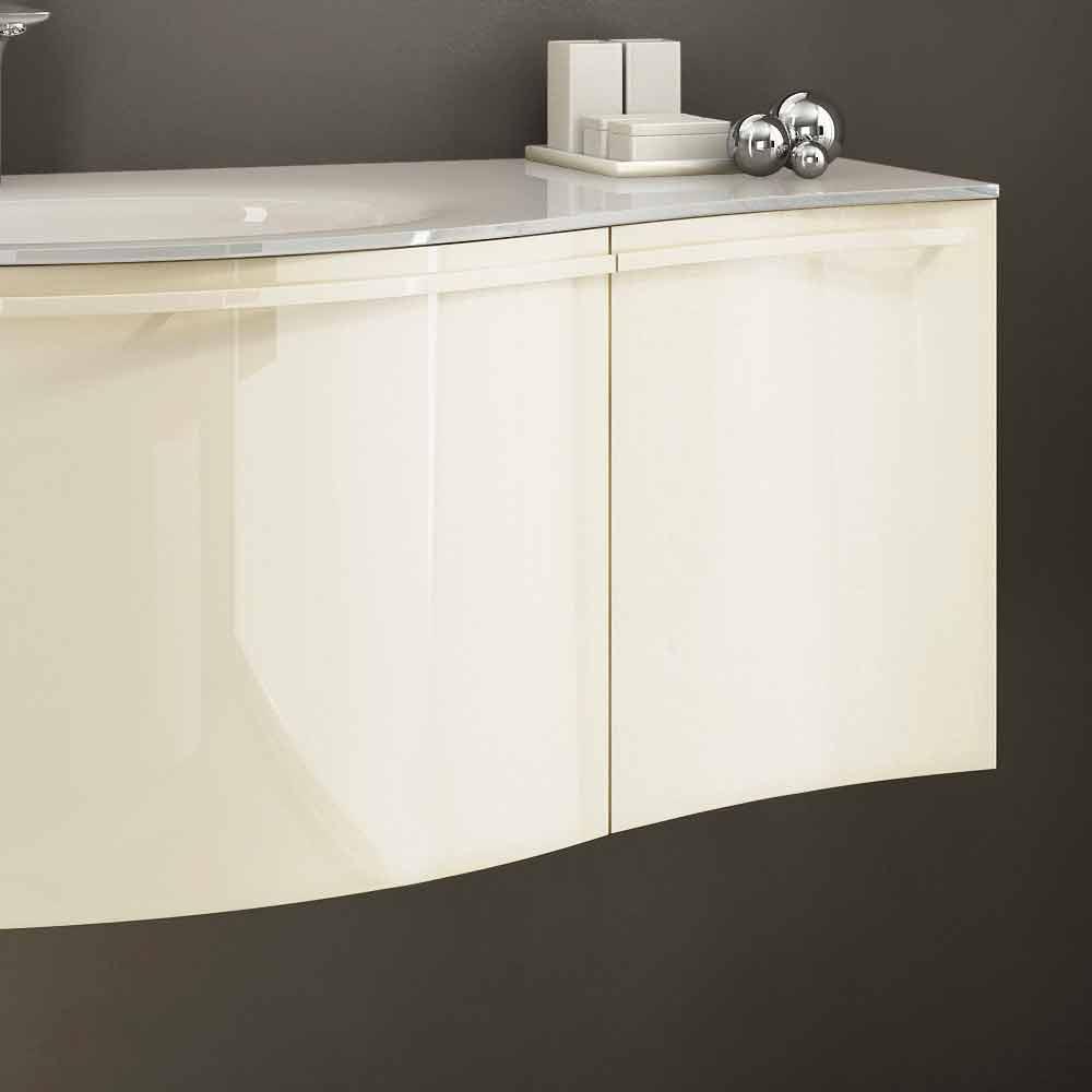 Mobile bagno sospeso moderno con lavabo in legno laccato for Mobili piccoli bagno