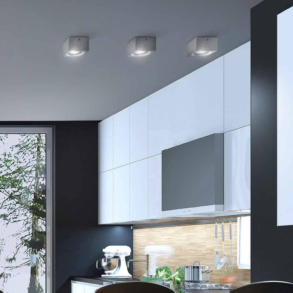 Plafoniera quadrata moderna design in gesso o cemento nadir for Plafoniera moderna