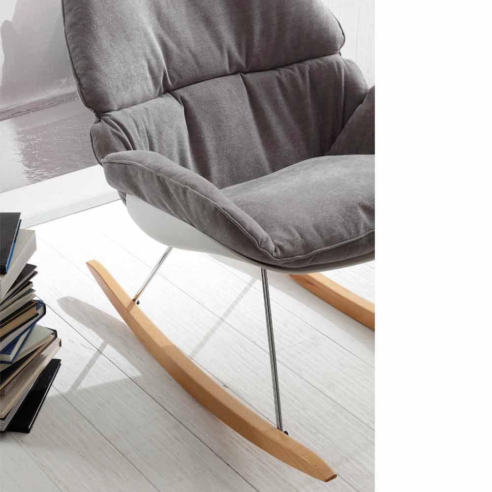 Poltrona a dondolo con cuscino soft grigio sfoderabile moderna acacia - Poltrona a dondolo di design ...
