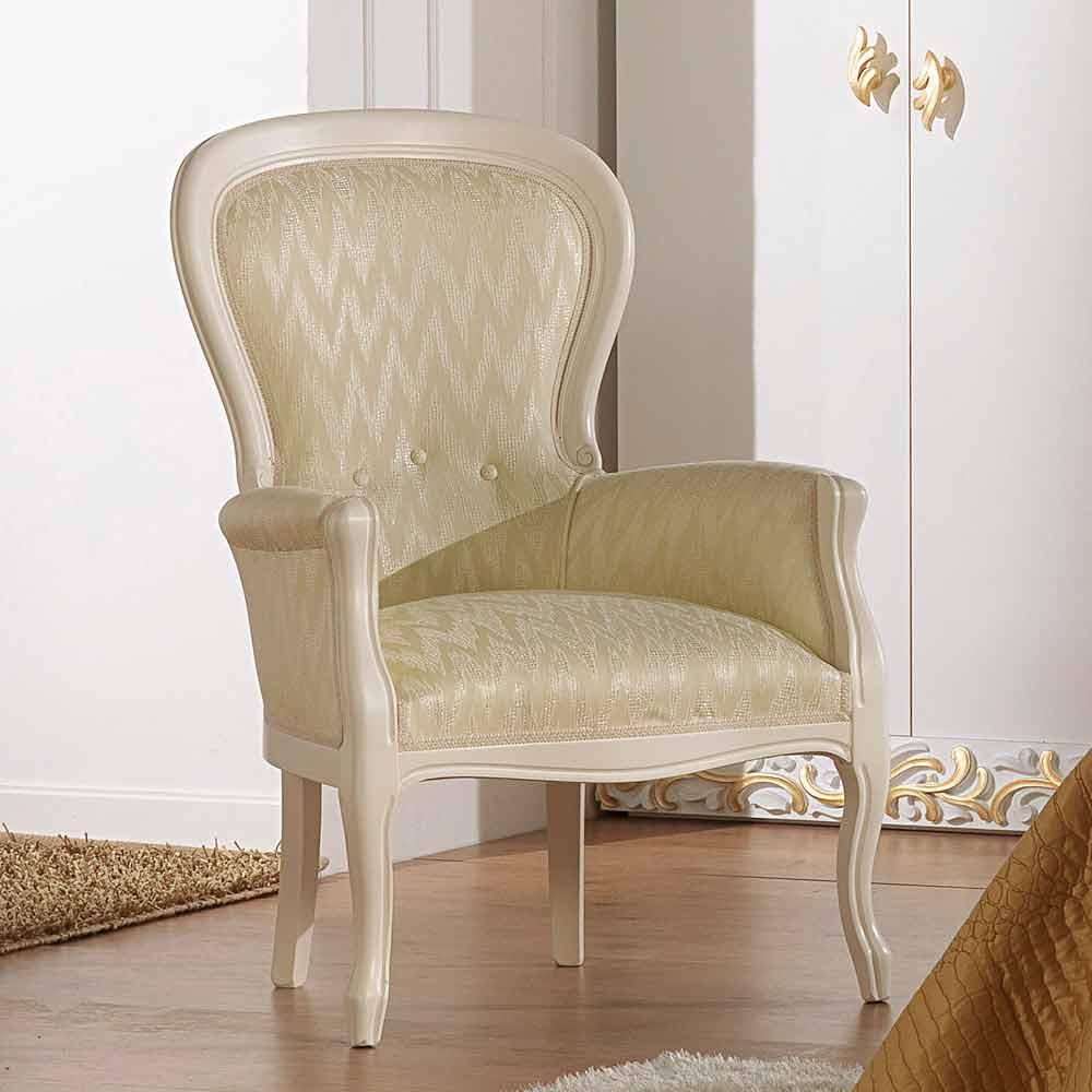 Poltrona dal design classico in legno rivestita in for Poltrona design