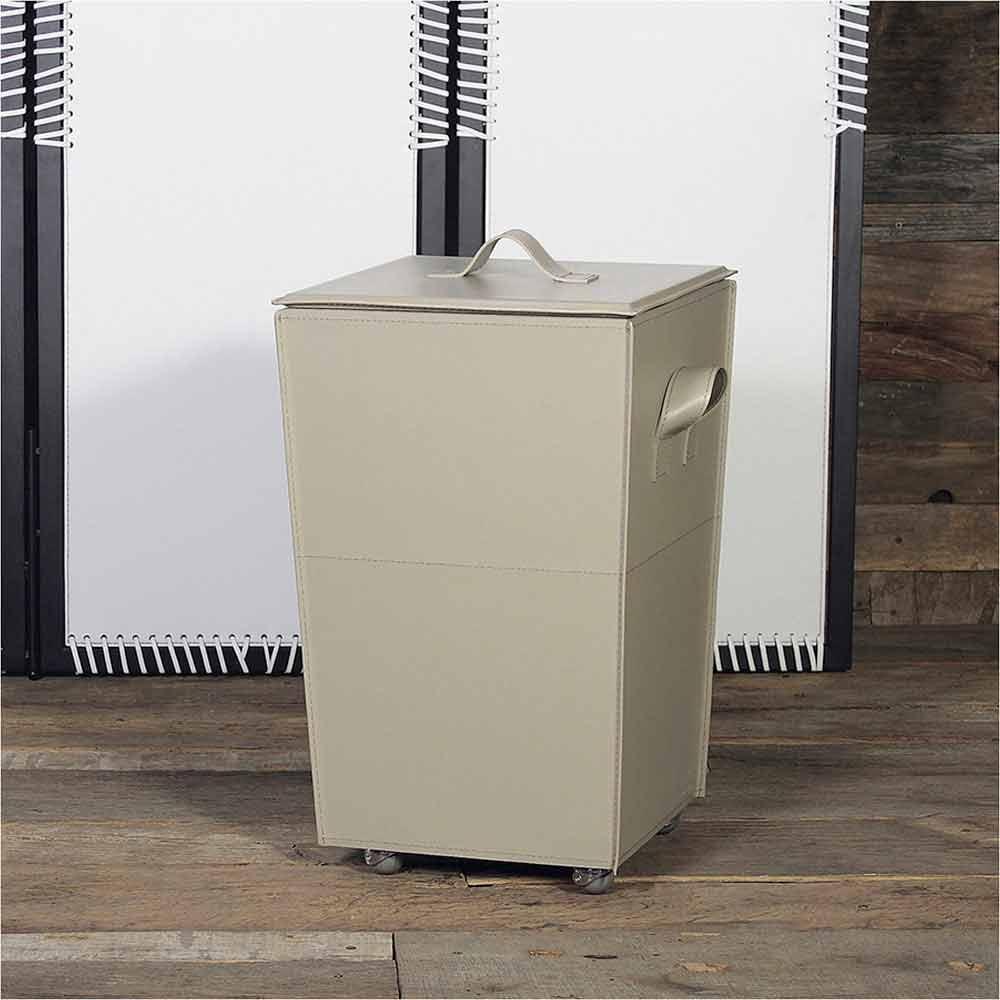 Vaso contenitore porta biancheria in cuoio e legno con - Portabiancheria design ...