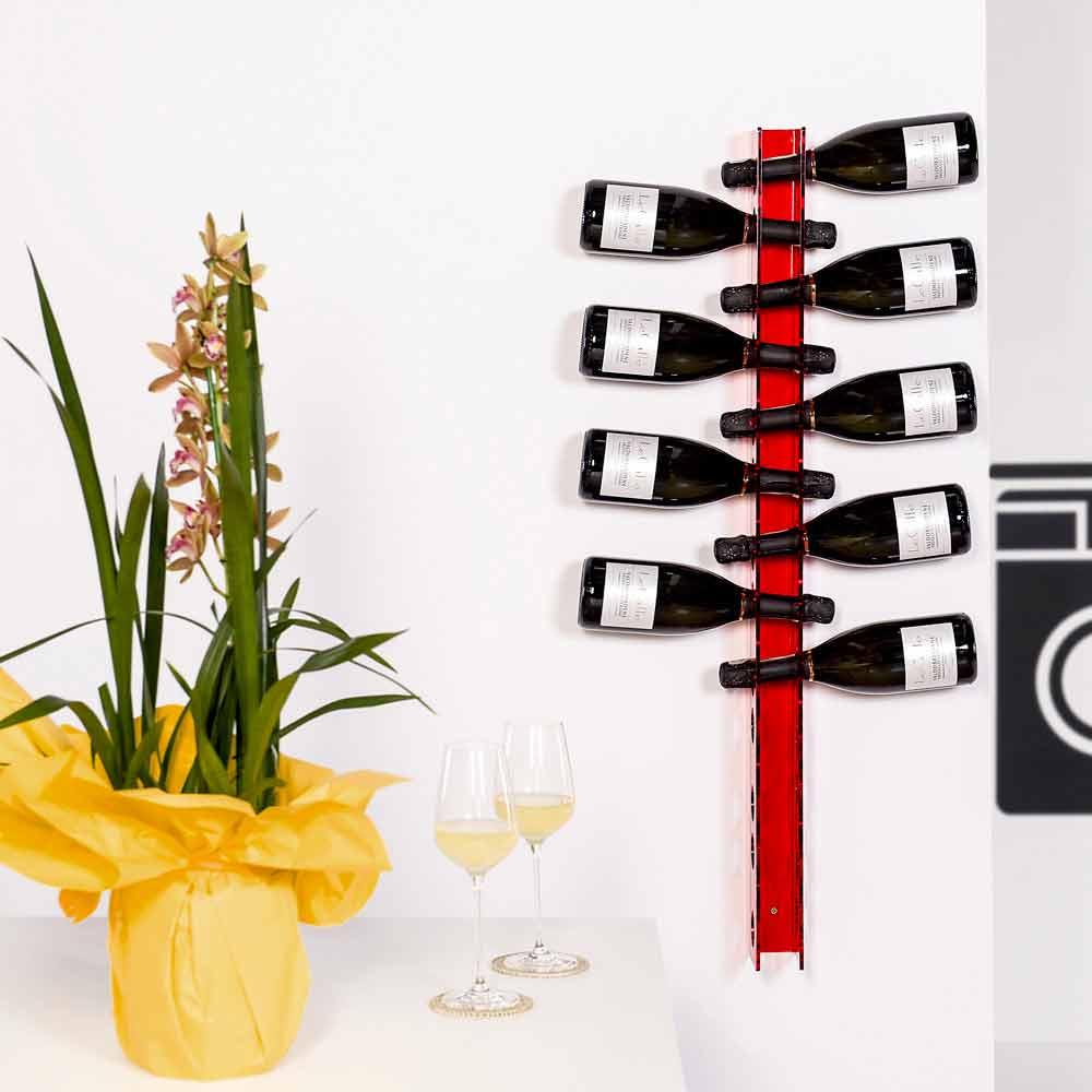 Porta bottiglie da parete rosso baby big l6xh100xp11cm design moderno - Porta vino da parete ...