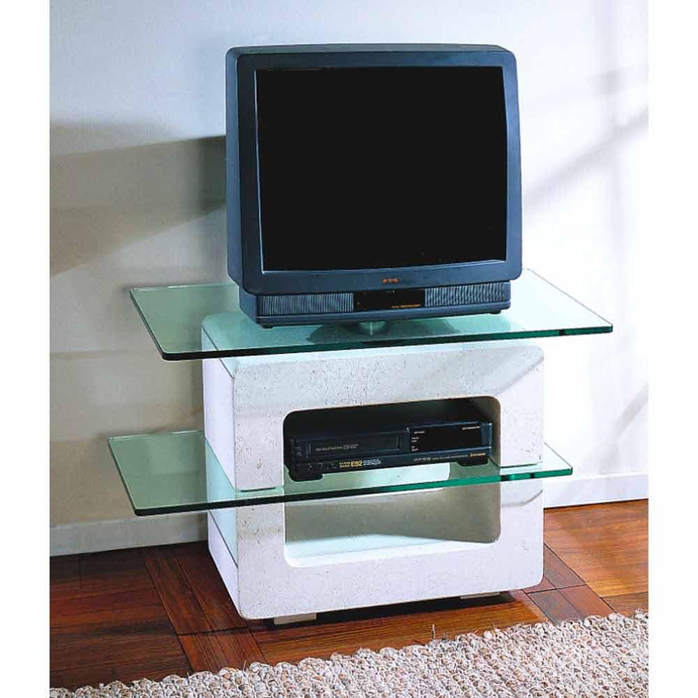 Porta tv modulare pietra di vicenza e cristallo scolpito - Porta tv design moderno ...