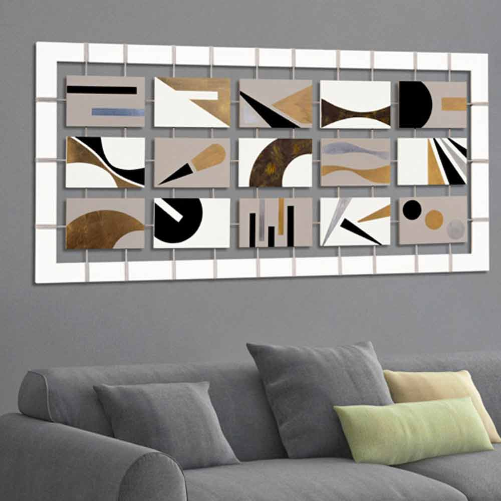 Quadro astratto con quindici pannelli sospesi su corde craig for Pannelli da parete decorativi