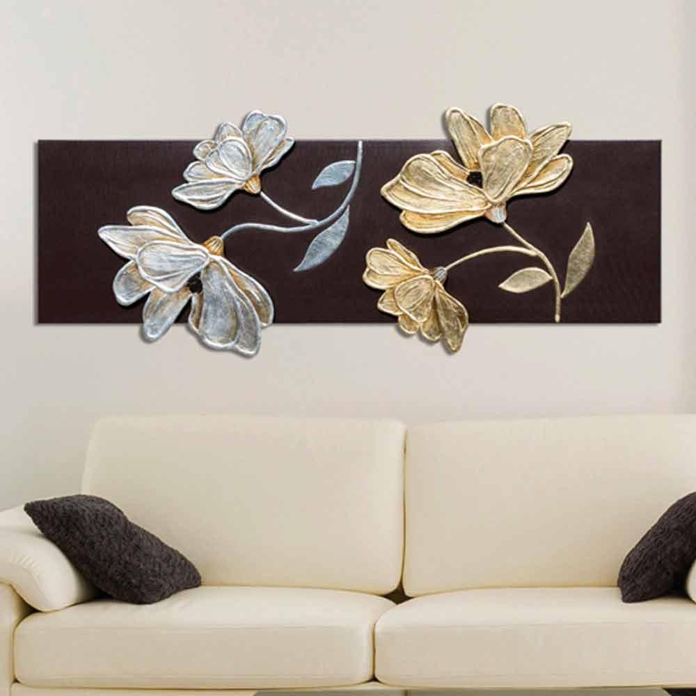 Quadro con fiori decorati a mano in foglia oro e argento for Quadri in argento