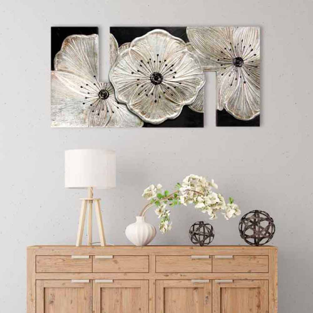Quadro con fiori petunia piccola argento by viadurini decor for Quadri con fiori in rilievo