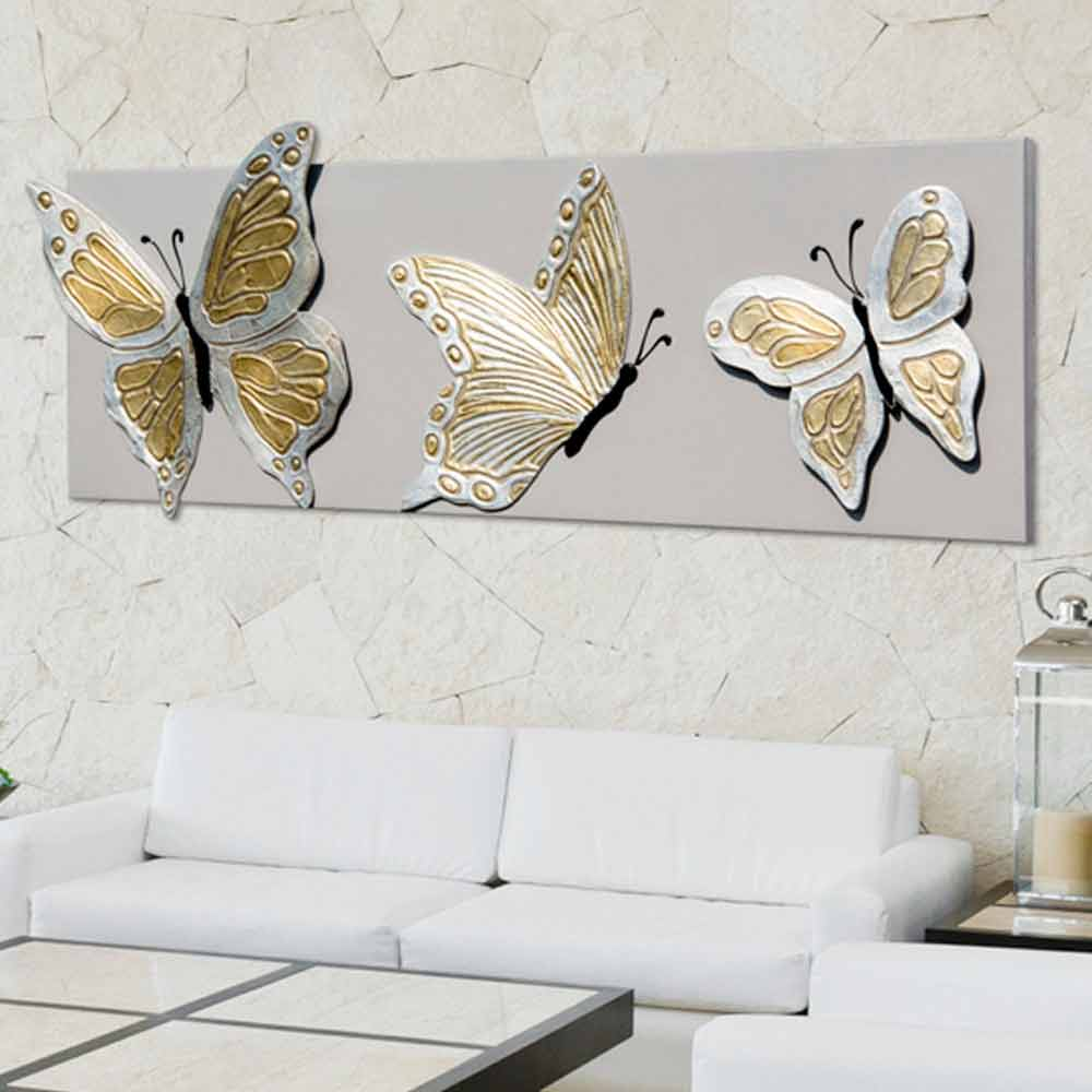 Quadro moderno con tre farfalle in rilievo decorate a mano Stephen