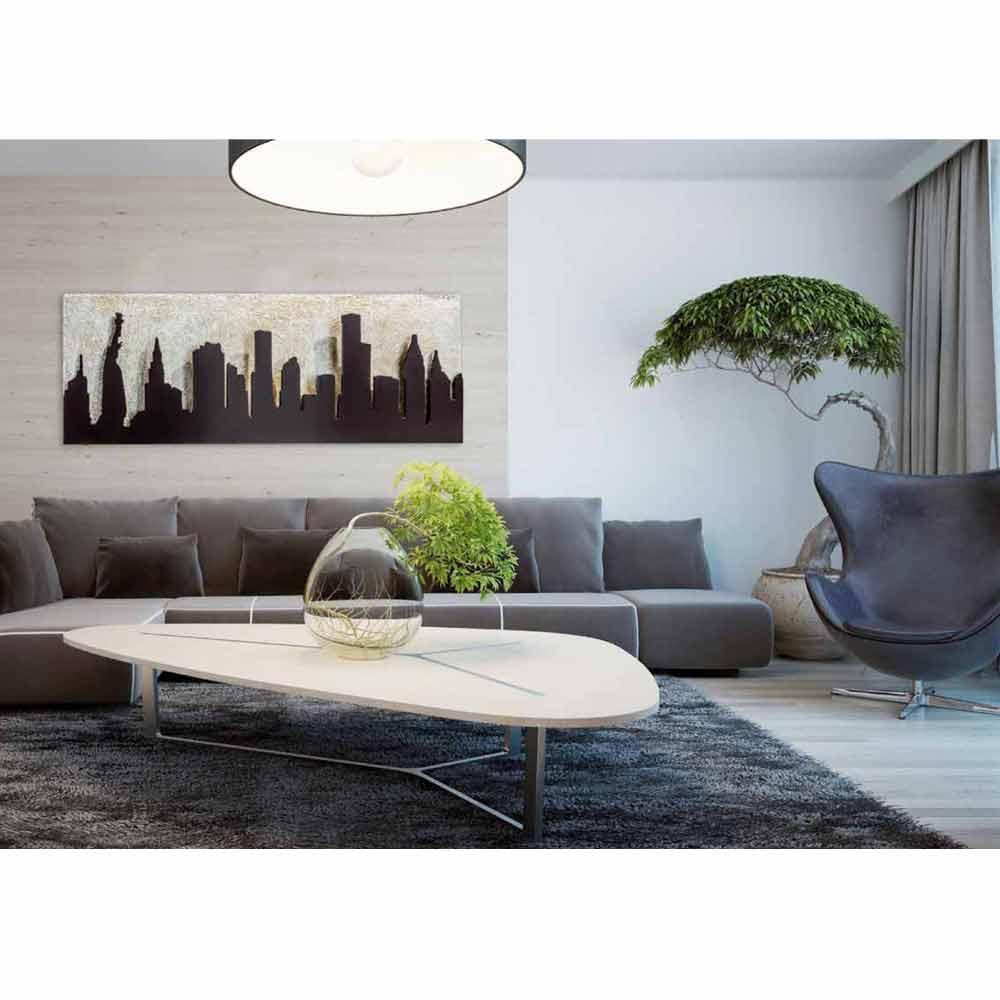 Quadro moderno su tela con manhattan in rilievo color for Acquari moderni