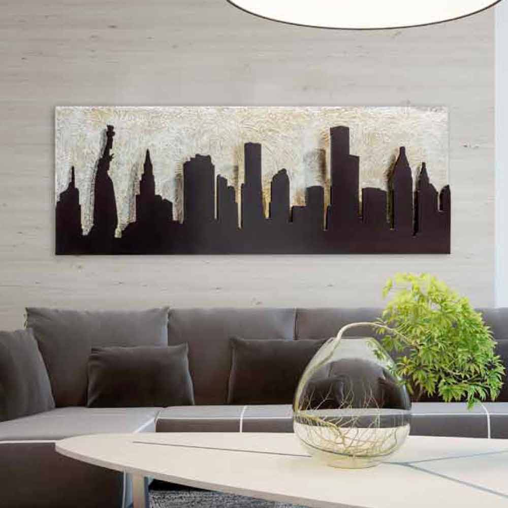 Quadro moderno su tela con Manhattan in rilievo color caffè Donald