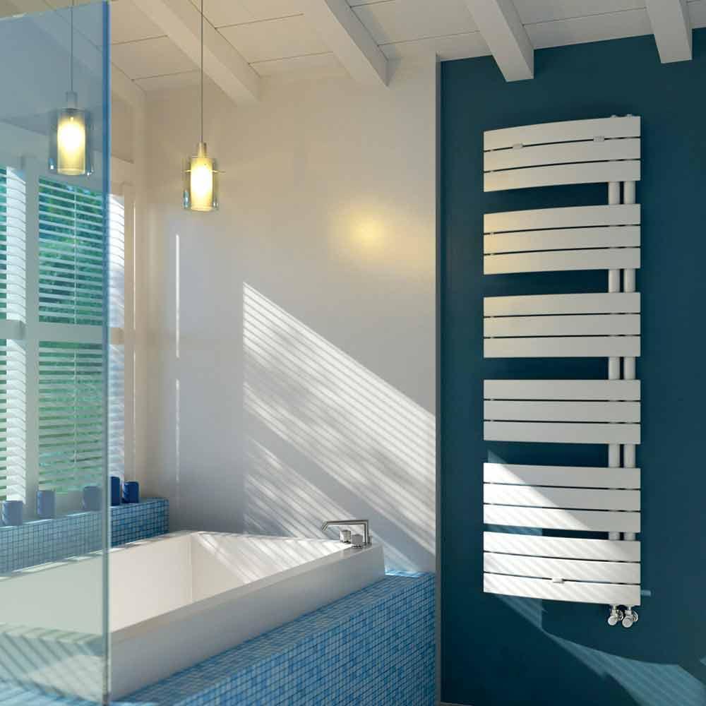 Scaldasalviette elettrico di design in acciaio bianco sail - Scaldasalviette da bagno ...