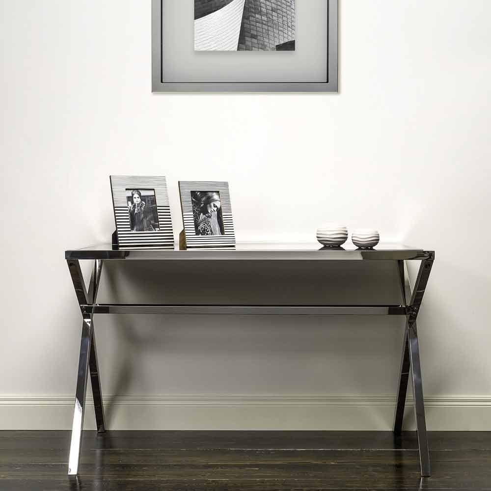 Scrittoio di design in acciaio e vetro nero lucido for Scrivanie in vetro e acciaio